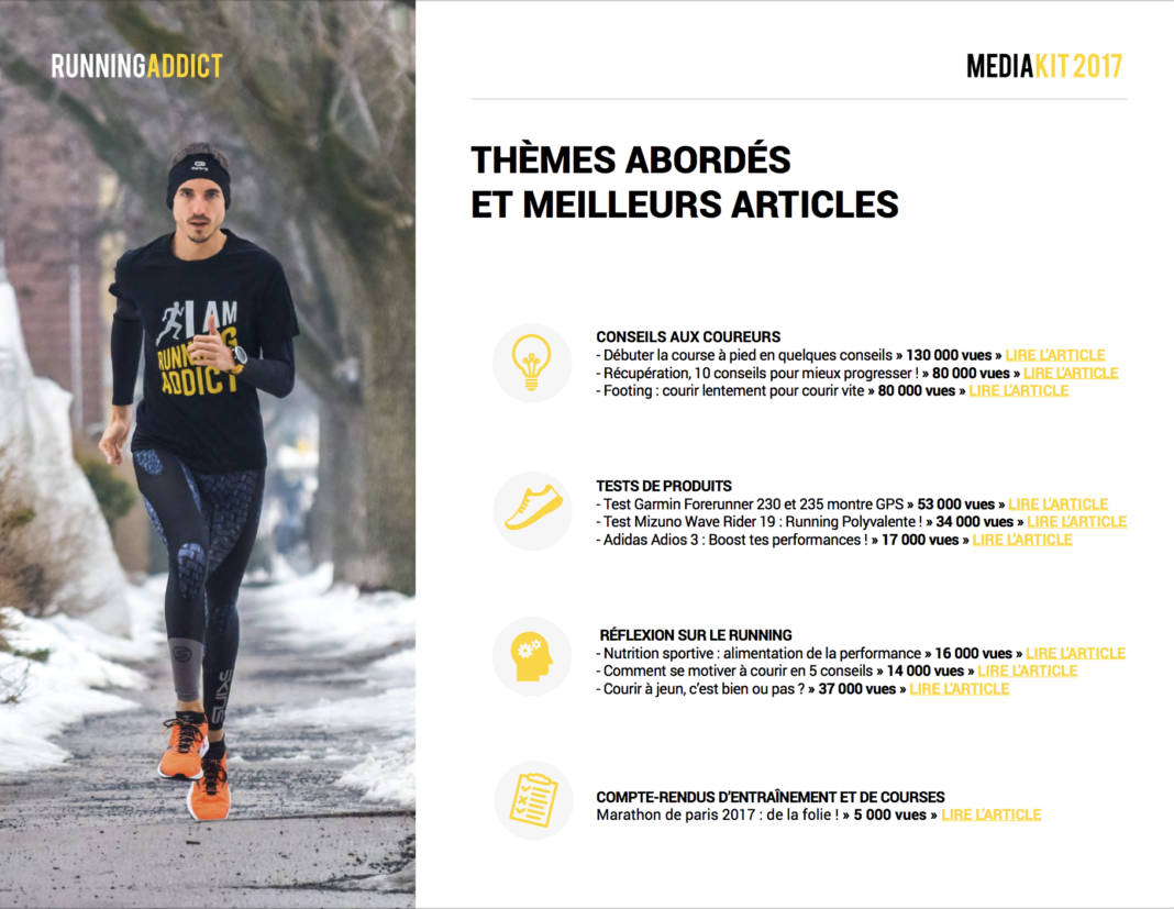 Le media kit du blog running addict