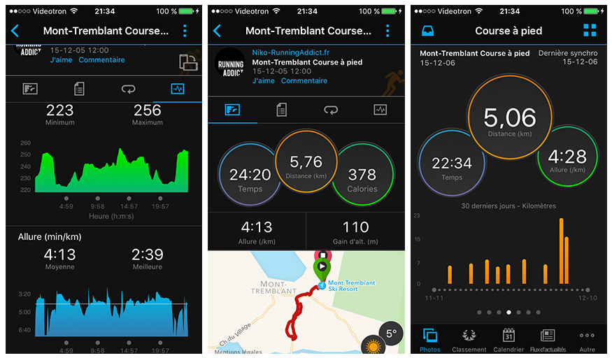 application mobile garmin connect mobile 3.0 avec la Garmin Forerunner 630